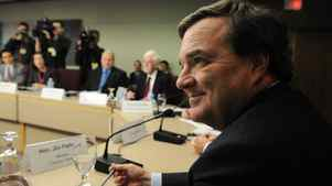 Minister of Finance Jim Flaherty takes part in a meeting with private-sector economists in Ottawa on Tuesday.