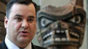 Heritage Minister James Moore as he makes an announcement at the Museum of Anthropology at the University of British Columbia in Vancouver on Dec. 20, 2010.