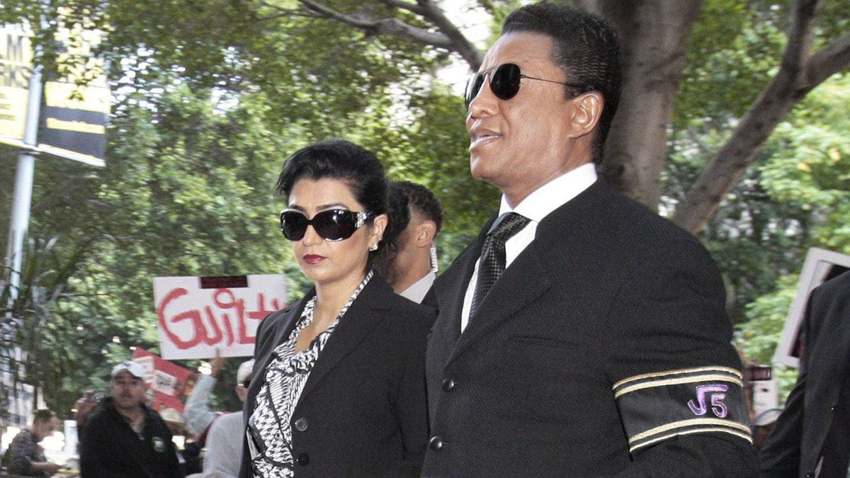 Michael Jackson's brother Jermaine Jackson and his wife Halima Rashid arrive at the courthouse after it was announced that jurors had reached a verdict in the involuntary manslaughter trial of Dr. Conrad Murray.