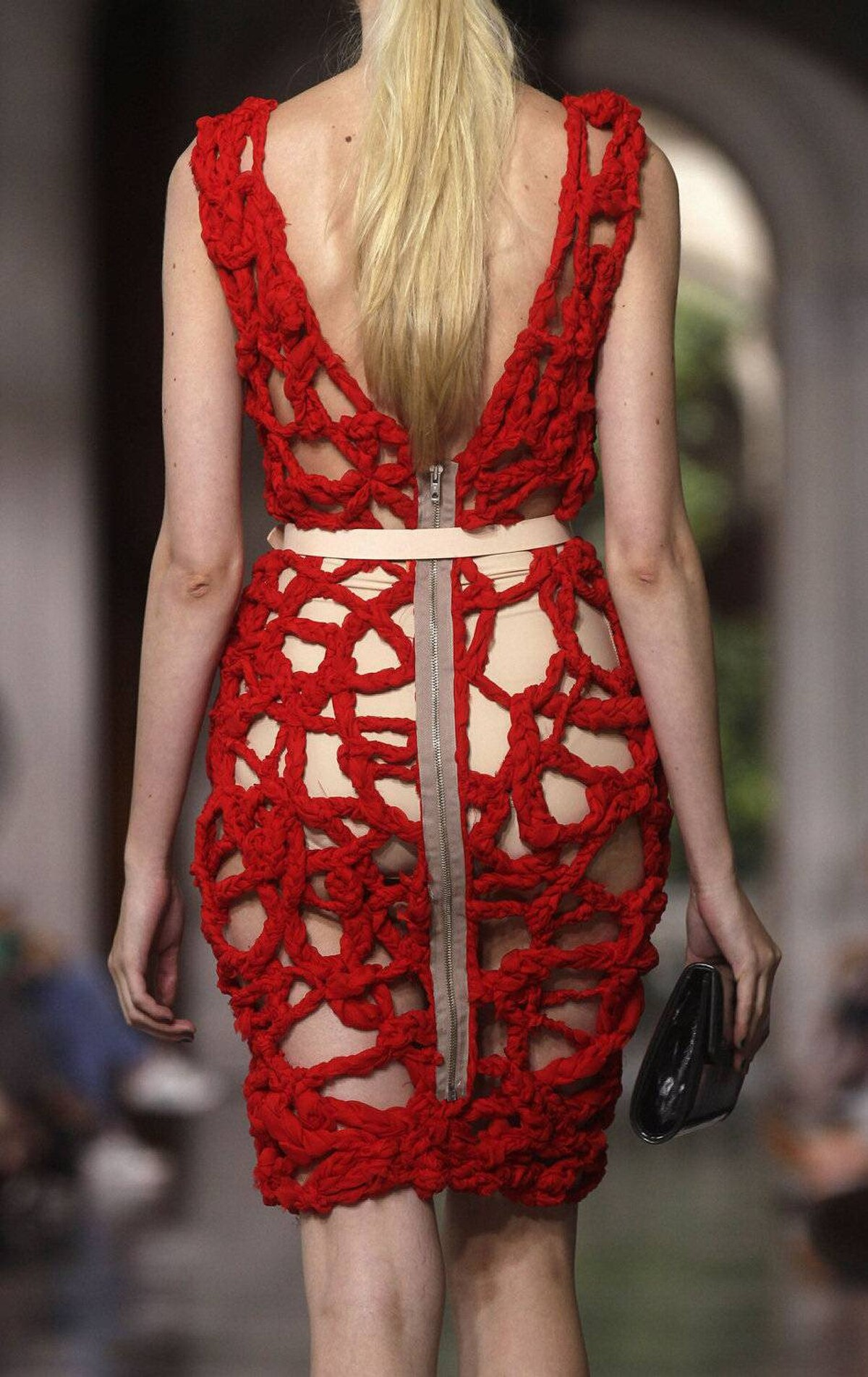 A model presents a creation from the Juan Pedro Lopez collection at a Barcelona 080 Fashion show, at the University of Barcelona on July 14, 2011.