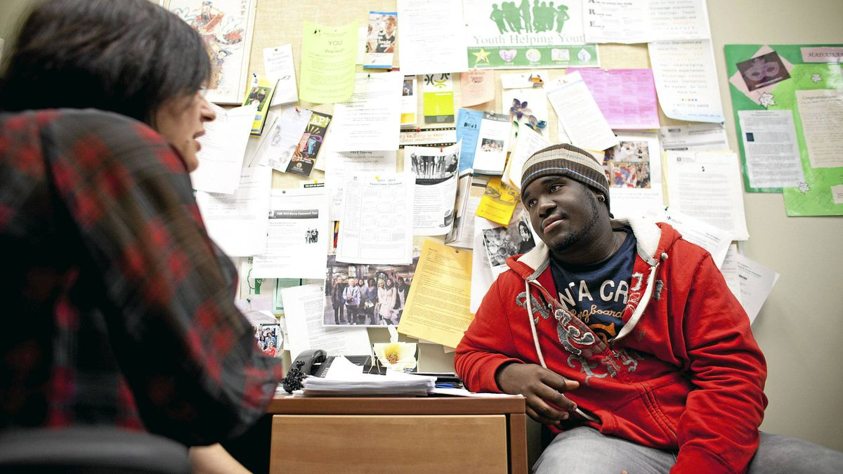 Tavoy Williams, an 18-year-old student who is in Grade 12 at Forest Lawn High School in Calgary, talks to the wellness-centre guidance counsellor Tina Merali.