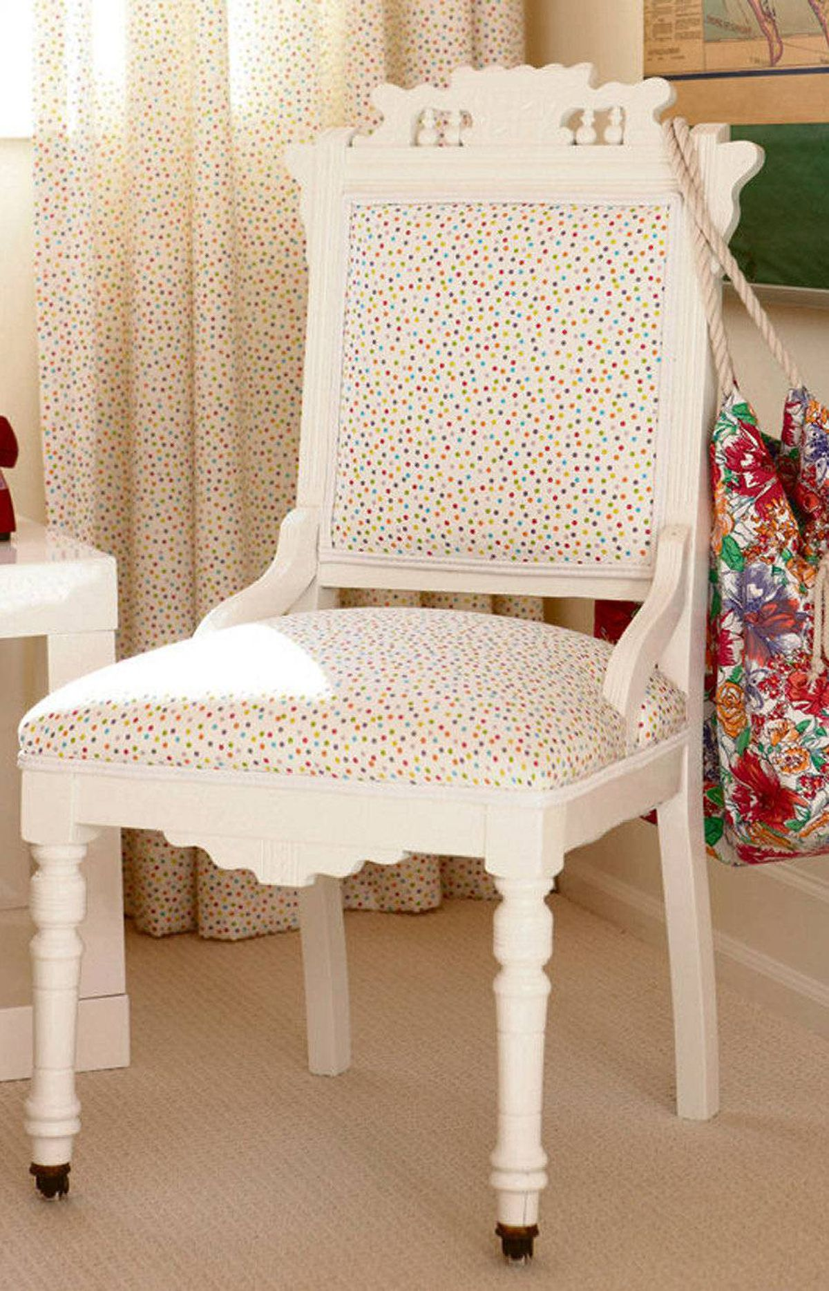 OPT FOR PATTERN This way, you can incorporate a trendy hue among other, more classic colours. Another trick is repetition: By repeating the same fabric (French toile here) in the chair and the curtains, the trendy polka-dot effect is subtle yet pulled together.
