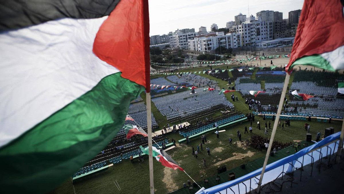 A stage in a field in Gaza City is prepared for celebrations to welcome prisoners released from Israeli prisons.