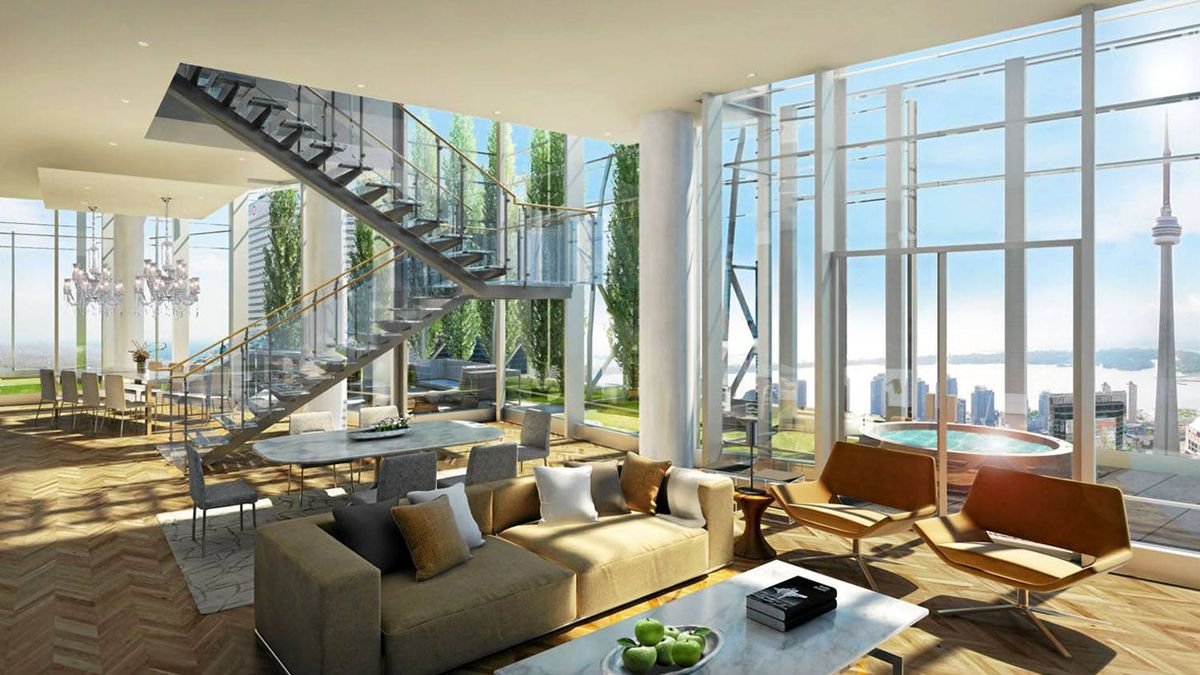 Rendering of a penthouse suite in the Shangri-La tower in Toronto. The grand opening of the luxury hotel-condo complex is on track for August, 2012.