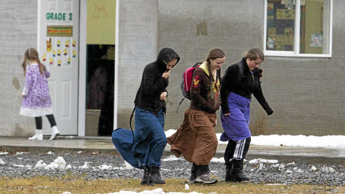 Young girls outside the school in the isolated religious community of Bountiful, B.C., Nov. 23, 2011.