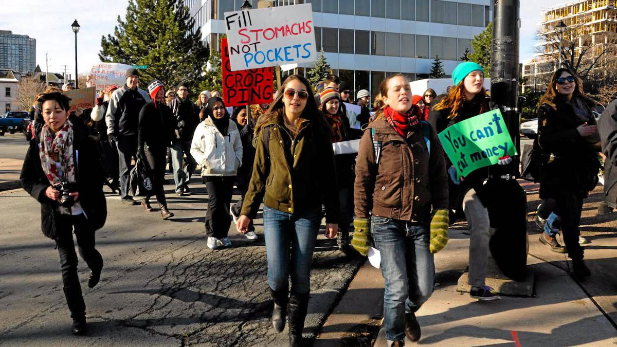 A rally held Saturday Nov. 27 in Halifax. Students from an International Development Studies course on activism marched from Dalhousie University to the Halifax Seaport Farmers' Market to protest Global Food Security issues, as a graded course component.
