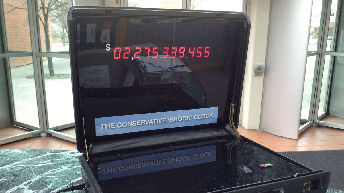 Once a major prop for the Alberta Liberals' 1993 election campaign, Laurence Decore's debt clock has been repurposed as a way to measure the cumulative difference in electricity costs between Alberta and the rest of the country since 2001.