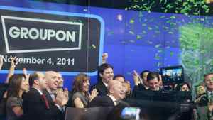 Employees and guests of Groupon, celebrate the company's IPO at Nasdaq, Friday, Nov. 4, 2011 in New York.
