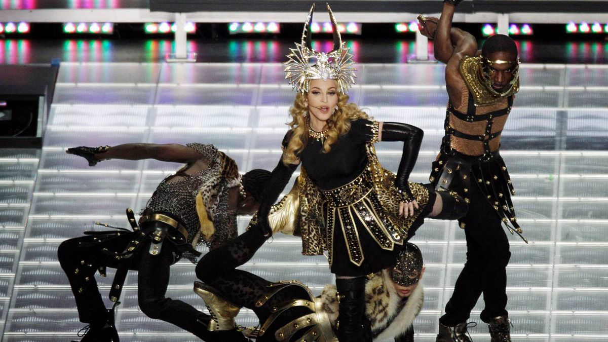 Madonna performs during the halftime show at the Super Bowl.