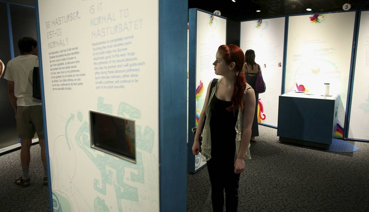 May 23, 2012: Leah Careless view the section that was banned at SEX: A Tell-all Exhibition at the Canada Science and Technology Museum in Ottawa. DAVE CHAN for The Globe and Mail