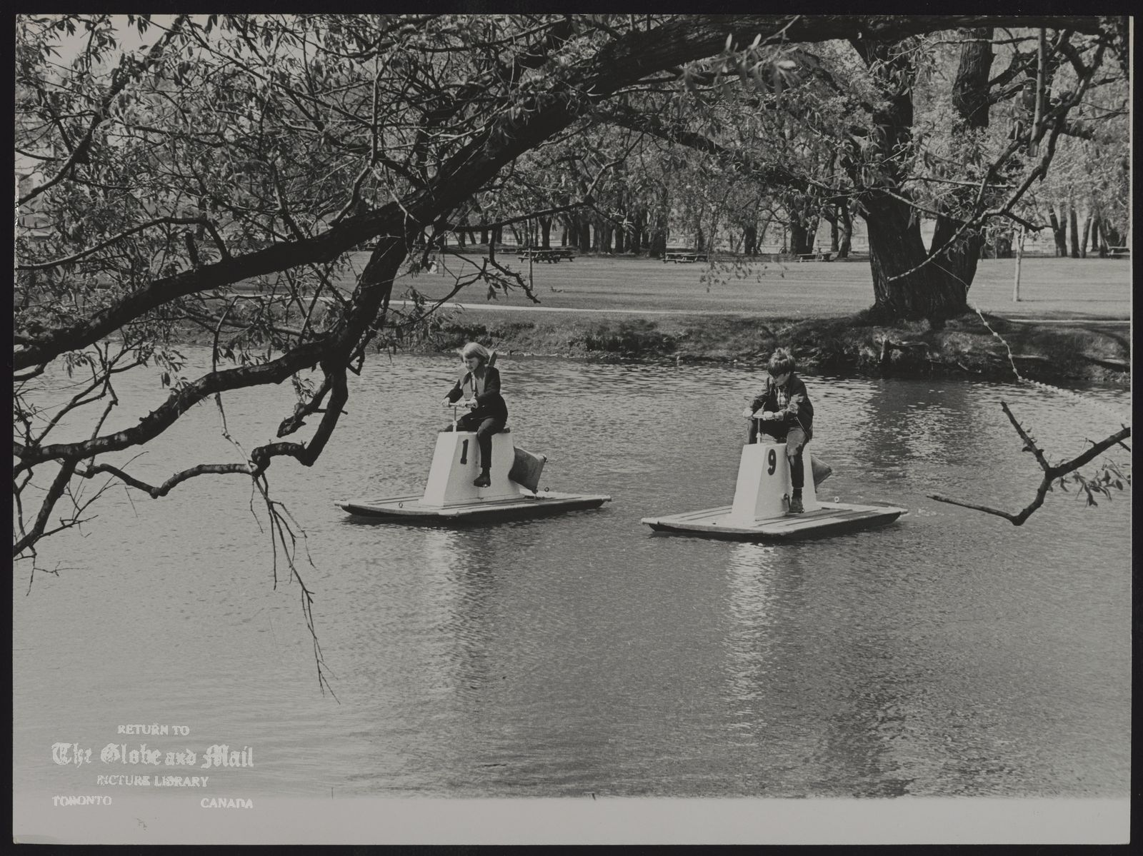 CENTRE ISLAND Children on pedal boats at Centre Island, May 21, 1968.