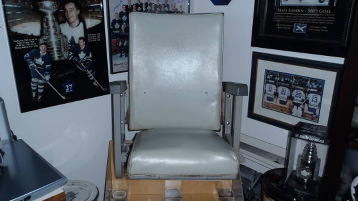 A stadium seat from Maple Leaf Gardens that PropertyGuys' Ken Leblanc purchased at auction.