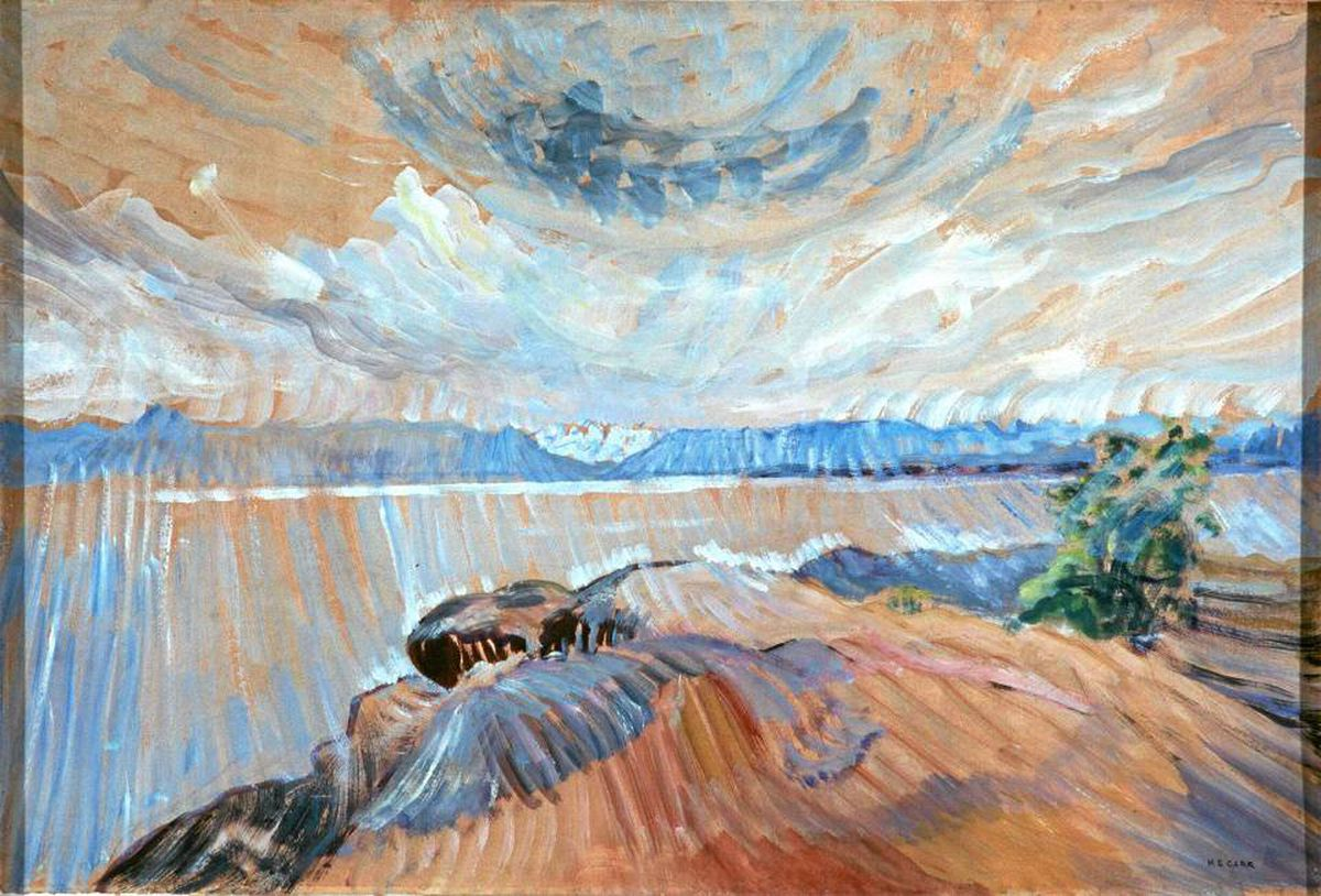 The show includes a number of late Carr works such as Sea and Sky (c. 1936).