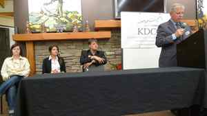From left, NDP candidate Sarah Campbell, Northern Ontario Heritage Party Charmaine Romaniuk and Liberal Anthony Leek watch Progressive Conservative candidate Rod McKay speak in Kenora on Sept. 20, 2011.