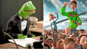 "A scene from ""The Muppets"" (left) and ""Arthur Christmas"" (right)"