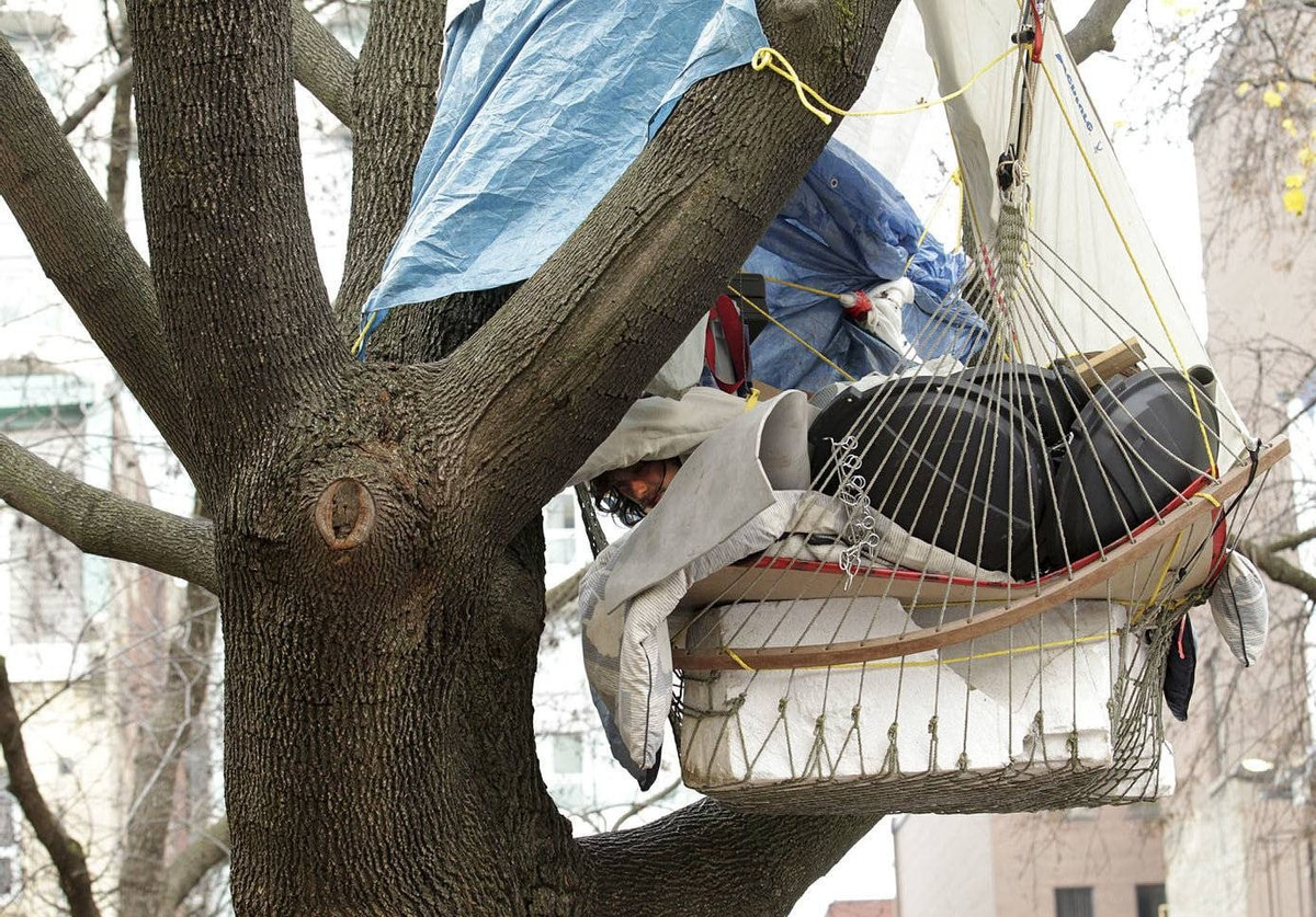 Occupy Toronto protestor Phoenix Laforest, 26, from Peterborough, awakens from sleep in his suspended hammock, lined with thick styrofoam and garbage can lids to protect him from rubber bullets he says, in a tree at St. James Park the day after a notice of eviction was posted on the Occupy Toronto Camp tents in Toronto.