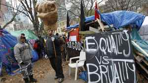 Occupy Toronto protesters demonstrate in the city's downtown on Nov. 22, 2011.
