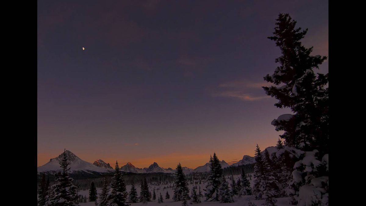 Brett G Haug photo: Tonquin Valley Christmas - The Tonquin Valley in Jasper National Park. This photo was taken last year at Christmas. Seeming we are still waiting for snow this year I am sending in one from last winter.