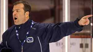 Vancouver Canucks head coach Alain Vigneault directs his players during team practice in Vancouver, B.C., on Tuesday April 14, 2009. The Canucks open their NHL Western Conference quarterfinal playoff series against the St. Louis Blues Wednesday in Vancouver. THE CANADIAN PRESS/Darryl Dyck