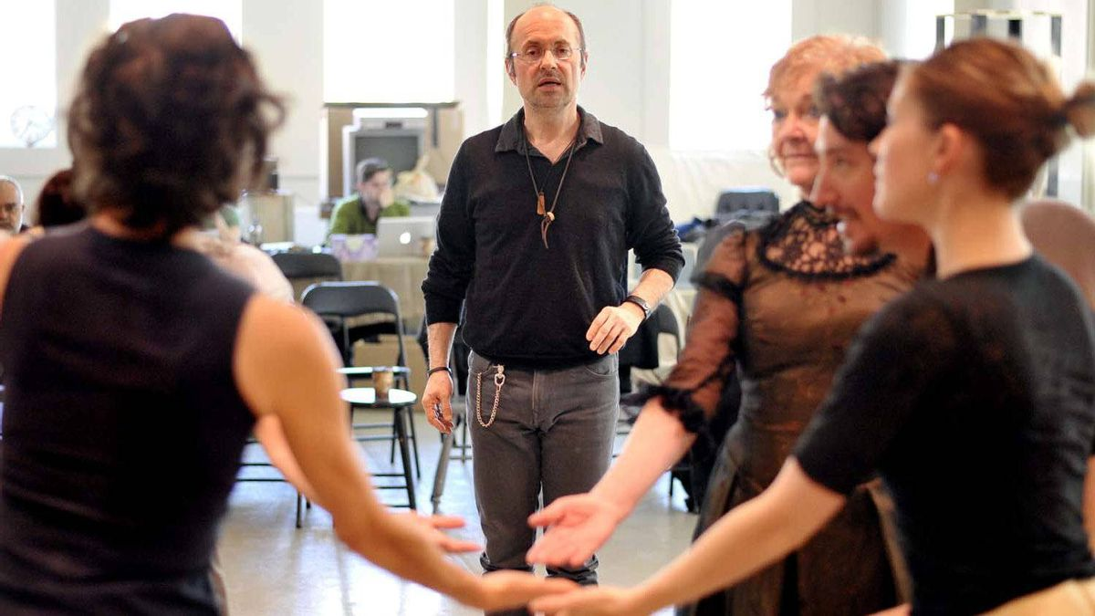 Choreographer James Kudelka works with his cast during a rehearsal for the House of Mirth at the Citadel in Toronto on April 27, 2012.