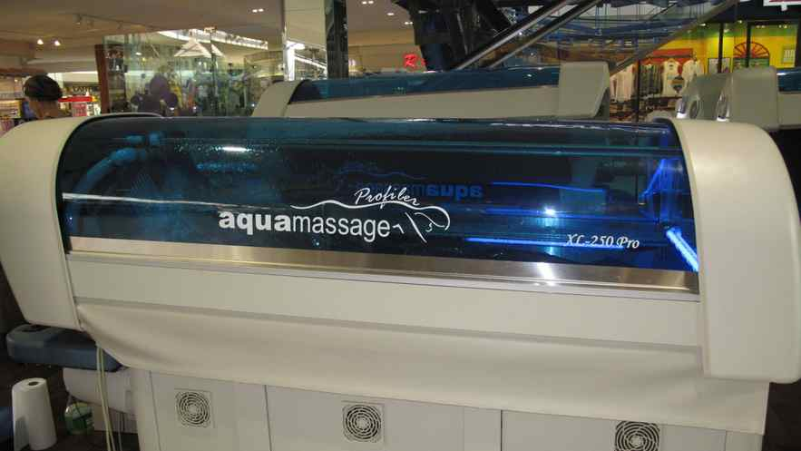 Would you climb into this contraption for a waterspray massage? In the open corridors of the busy West Edmonton Mall?