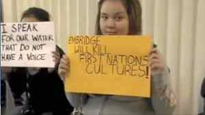 The students and staff of Bella Bella Community School protested the proposed Enbridge Pipeline that would bring supertankers filled with oil along the coast of the Great Bear Rainforest.