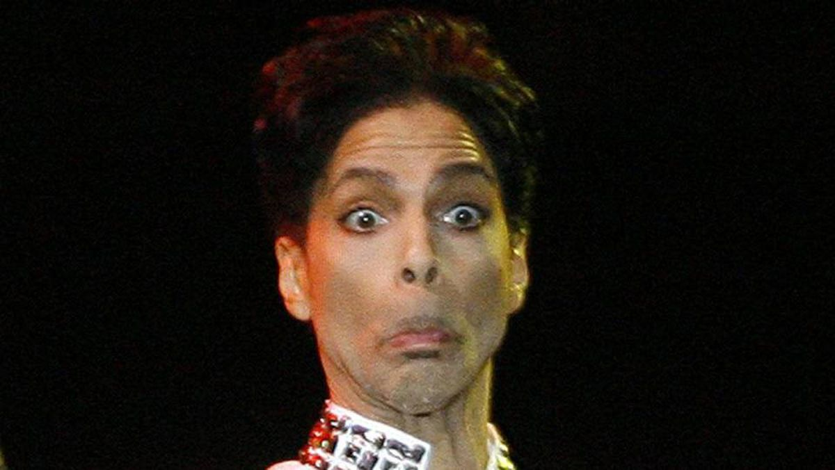 Prince performs at the Coachella Music Festival in Indio, California, in 2008.