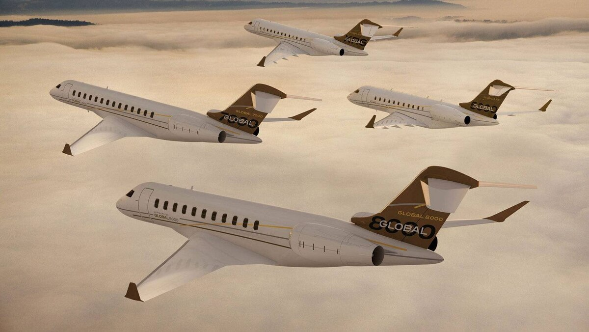 Artist's rendition of Bombardier's new planned Global 7000 and 8000 business jets
