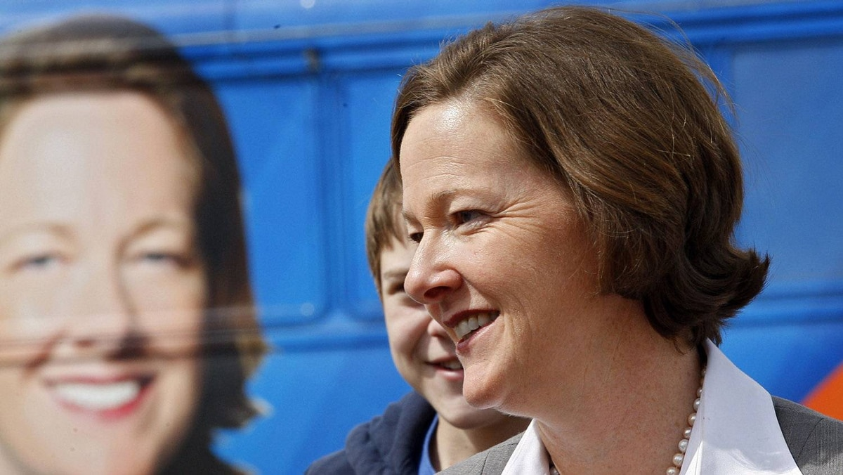 Alberta Conservative leader Alison Redford makes a campaign stop at Father Whelihan School in Calgary, Alta., Monday, April 16, 2012.