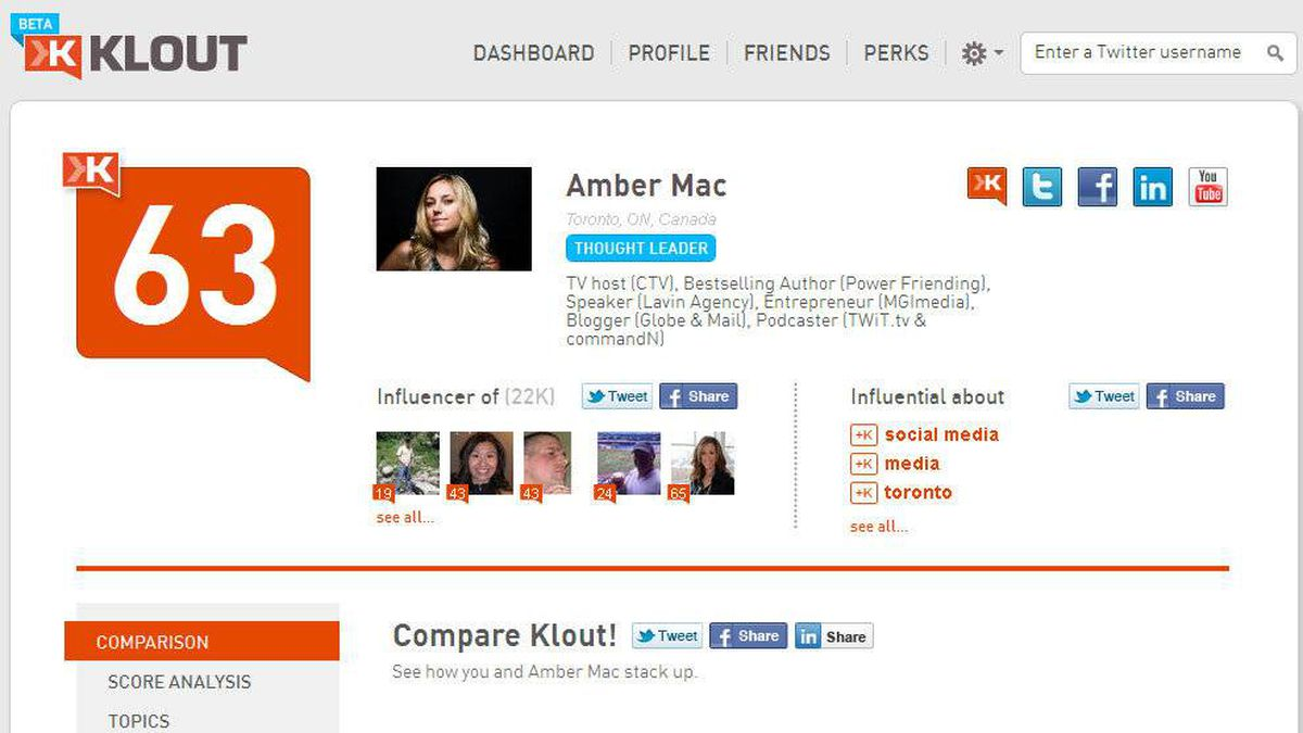 A screengrab of Amber Mac's Klout profile.