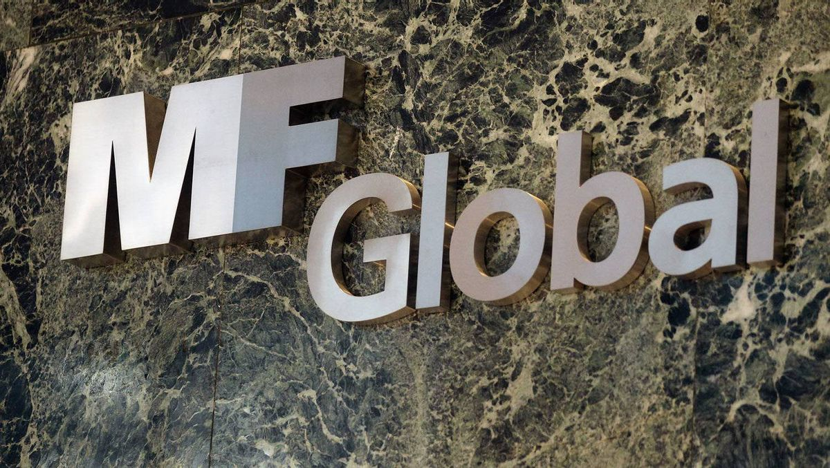 An MF Global sign is seen in the office building in New York.