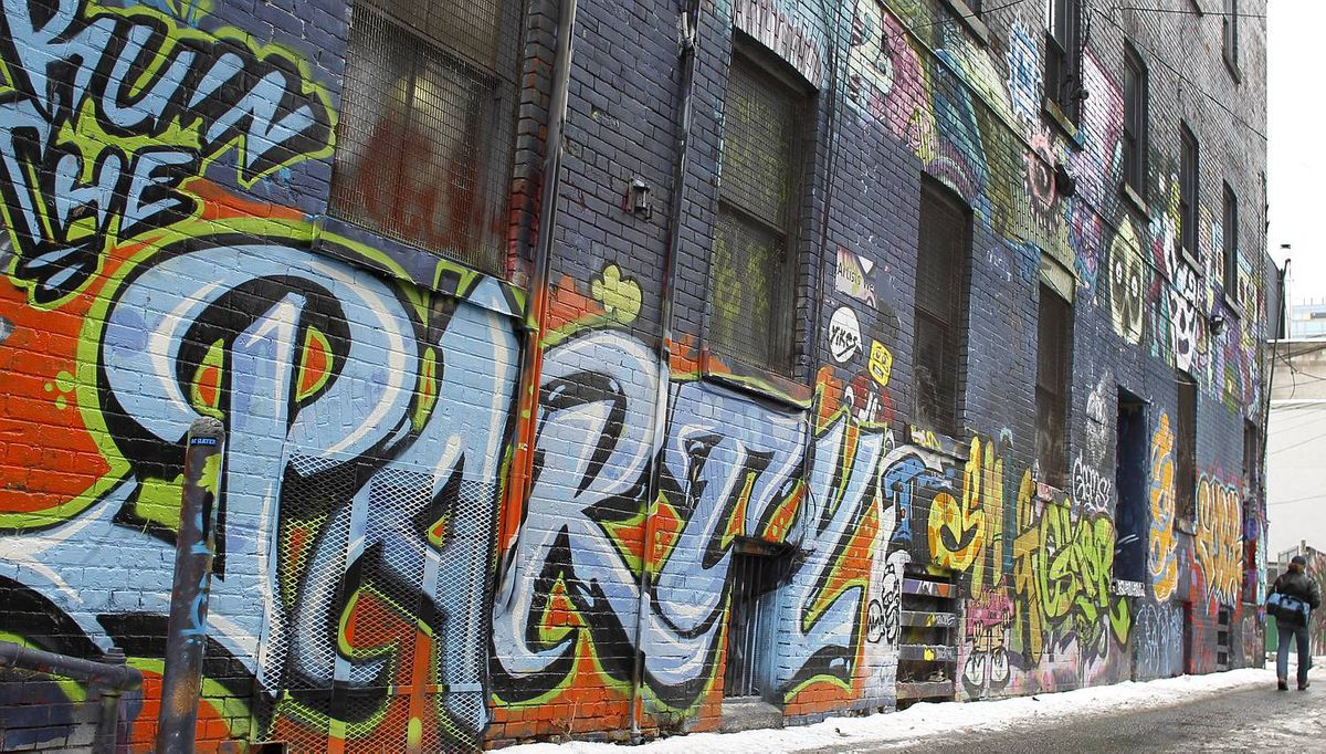 A selection of the graffiti that is on the walls in the area west of Spadina, in the alleys off Queen Street West in Toronto)