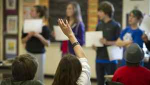 Grade 7 students participate in class at East Alternative School of Toronto (E.A.S.T.) in Toronto, Ont. Nov. 30, 2011.