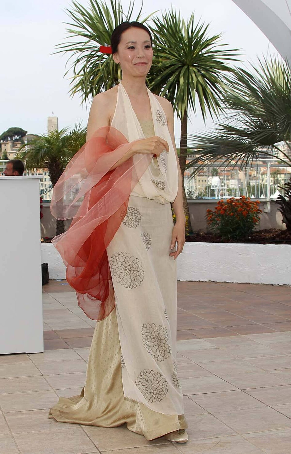 """Japanese director Naomi Kawase poses during the photo call for her film """"Hanezu No Tsuki"""" at the Cannes Film Festival on Wednesday."""