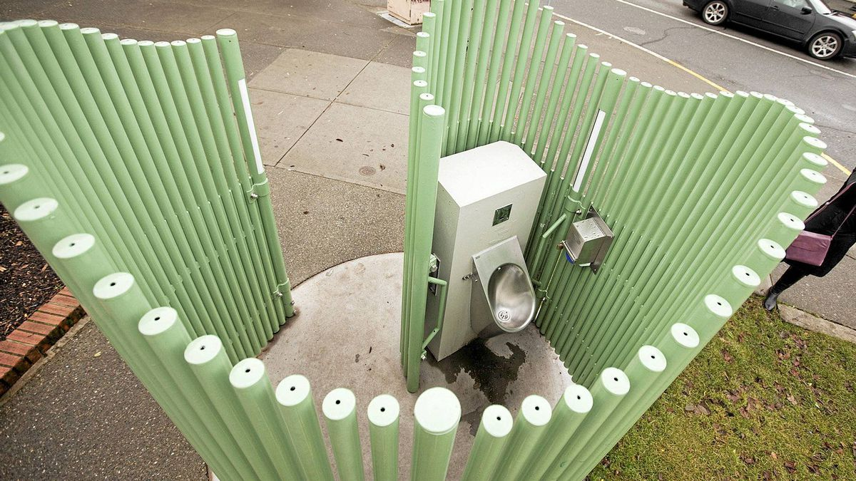 The $75,000 public urinal on Government and Pandora steet which Victoria mayor Dean Fortin believes has helped combat public urination. VICTORIA, B.C. December 15, 2010.