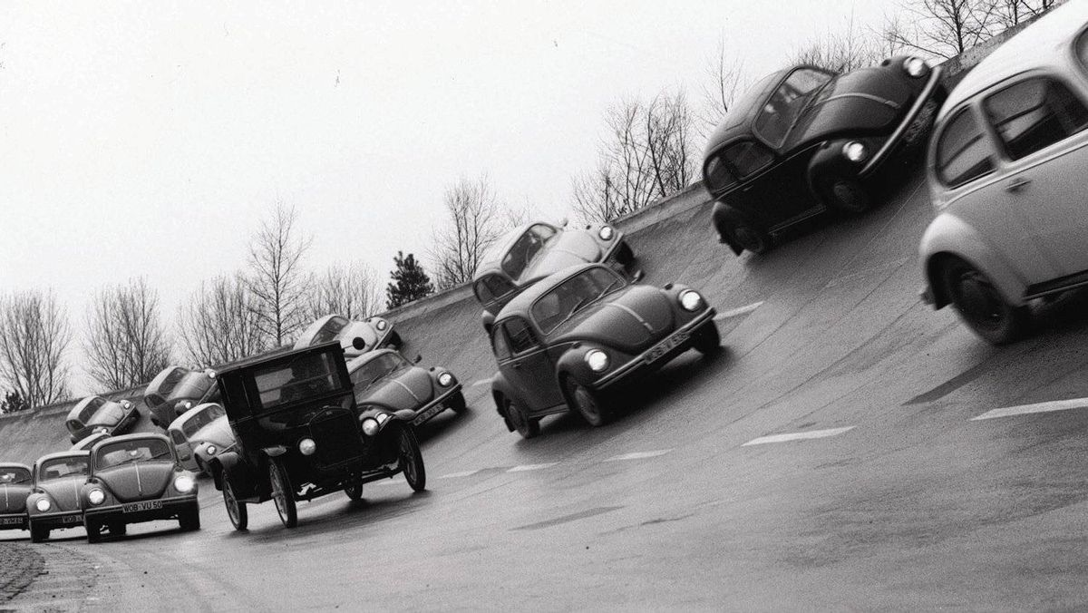 A publicity photograph taken in 1972, the year the Beetle passed the Ford Model T as the best-selling car of all time.
