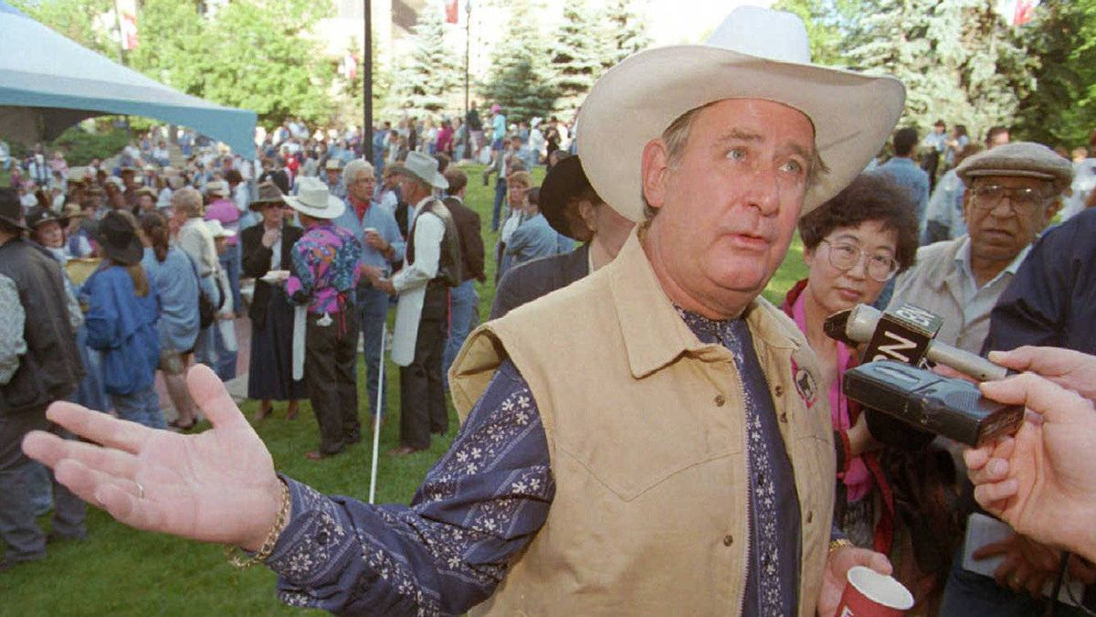 Mr. Klein comments on the Canadian constitution at the Alberta Stampede breakfast in 1996. Mr. Klein said his government may go to the people to determine Albertans' wishes in a constitution.