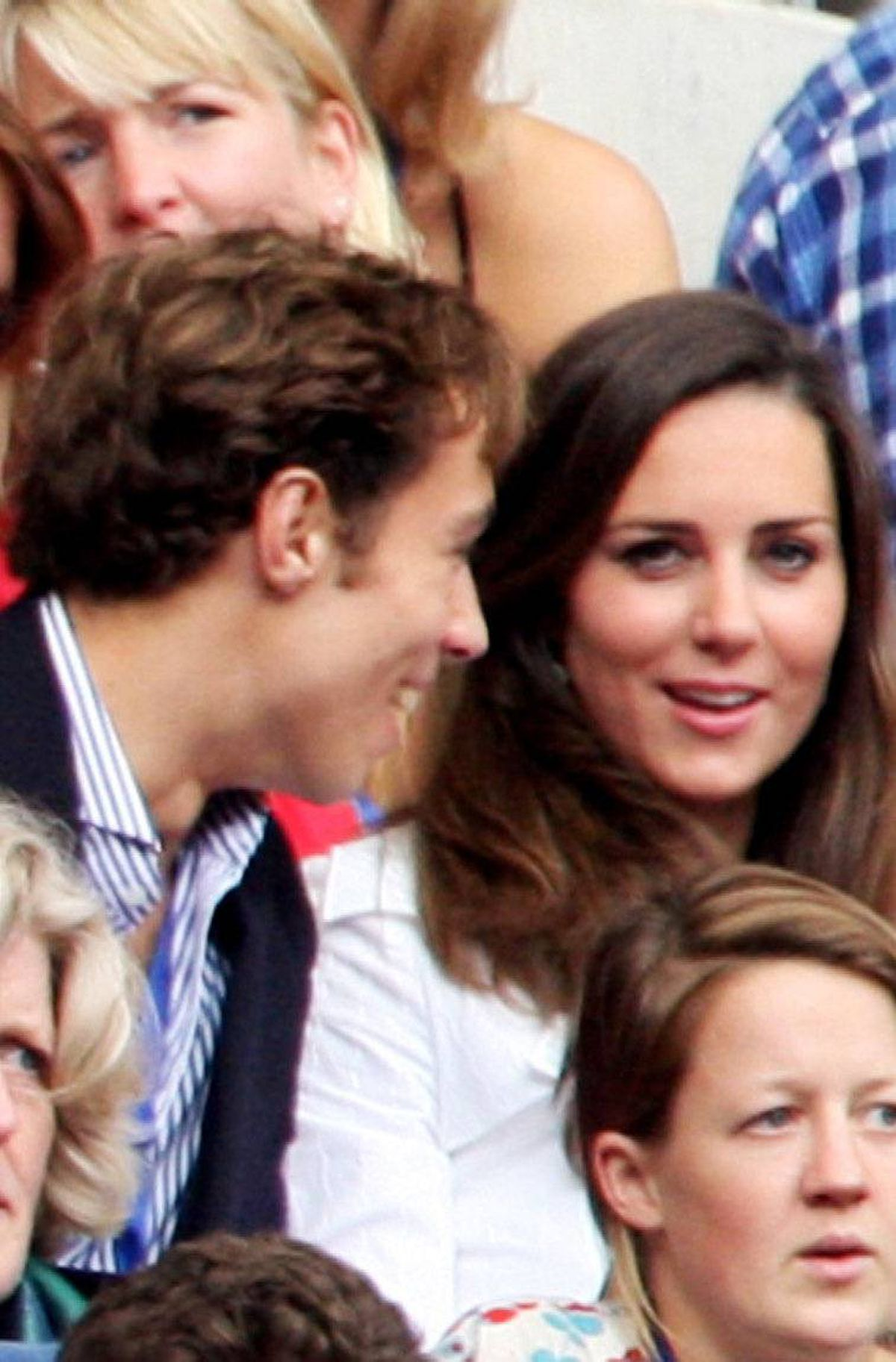 Kate Middleton (R) and a friend watch the Concert for Diana at Wembley Stadium on July 1, 2007 in London, England. The Concert fell on the date that would have been the late Princess's 46th birthday and marks 10 years since her death with an event headed by Princes William and Harry to celebrate her life.