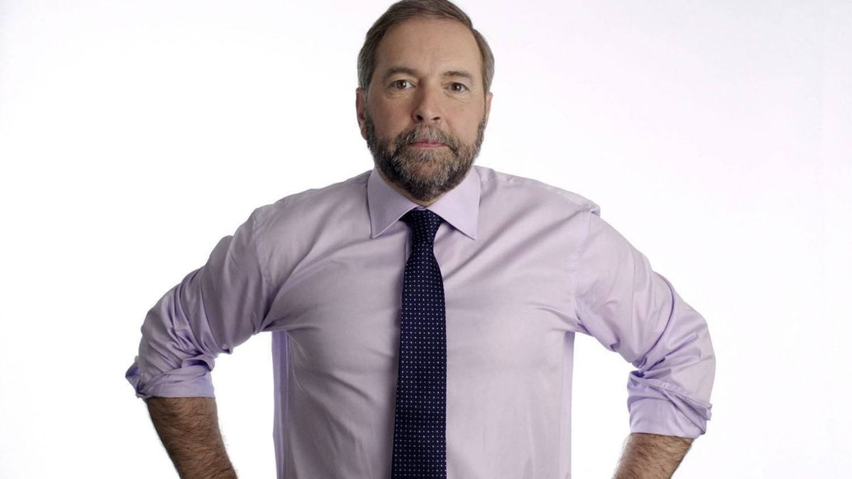 NDP Leader Thomas Mulcair appears in a French-language television ad released April 5, 2012.