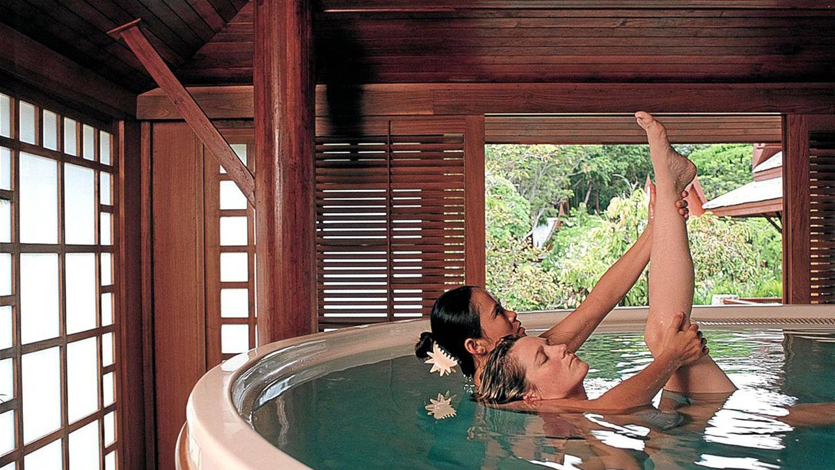 Water therapy at Chiva-Som wellness retreat in Thailand.