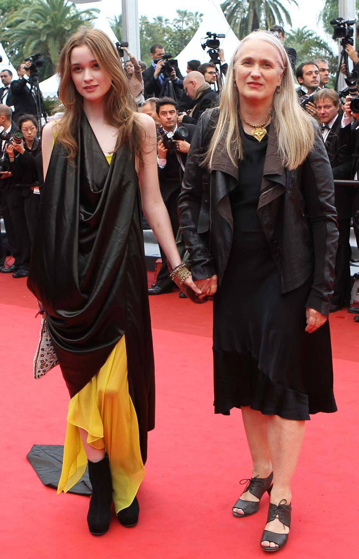 "New Zealand's director Jane Campion and her daughter on the red carpet before the screening of ""Sleeping Beauty"" at Cannes on Thursday."