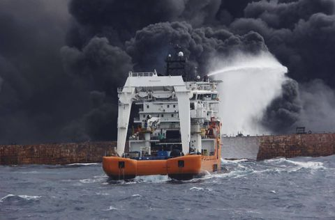 Burning Tanker Sanchi Drifting in Japanese Ecomonic Zone - Chinese Rejected Help