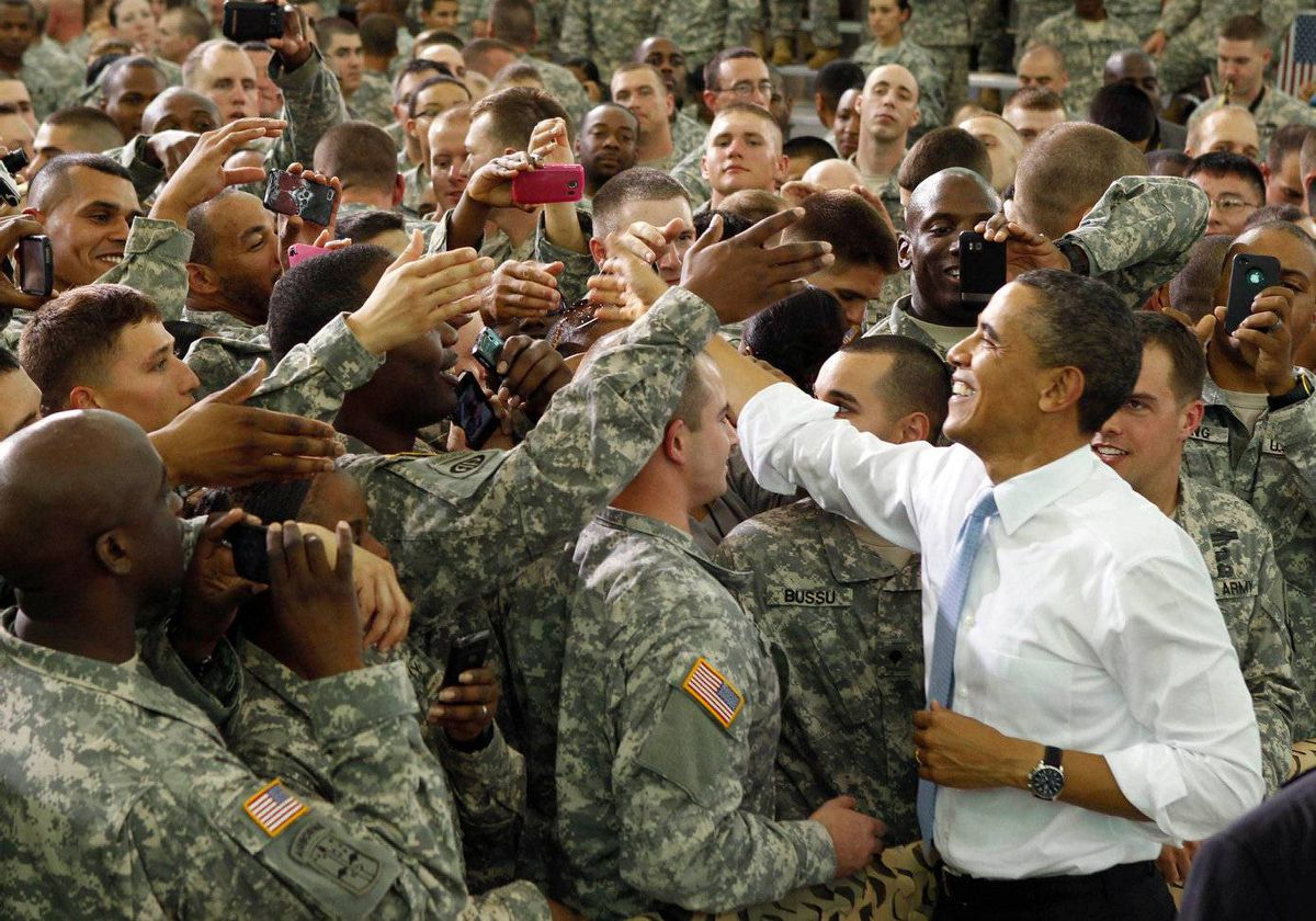 U.S. President Barack Obama greets troops at Fort Campbell in Kentucky May 6, 2011.