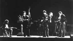 The Band on stage on Nov. 25, 1976 at The Last Waltz concert in San Francisco. The film capturing The Band's farewell show was directed by Martin Scorsese.