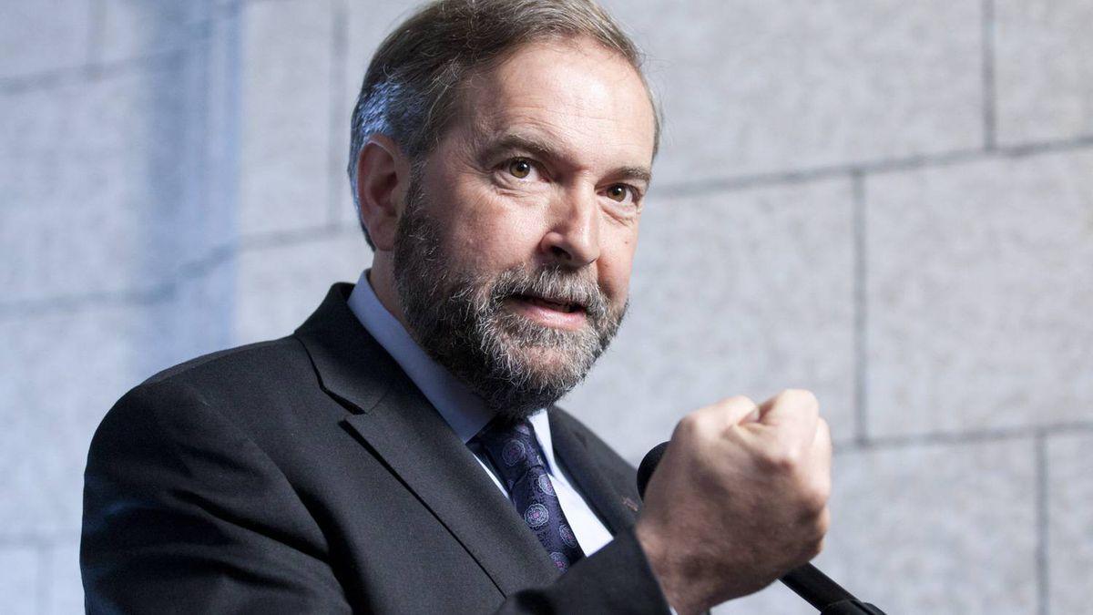 NDP Leader Tom Mulcair speaks with reporters in Ottawa on June 6, 2012.