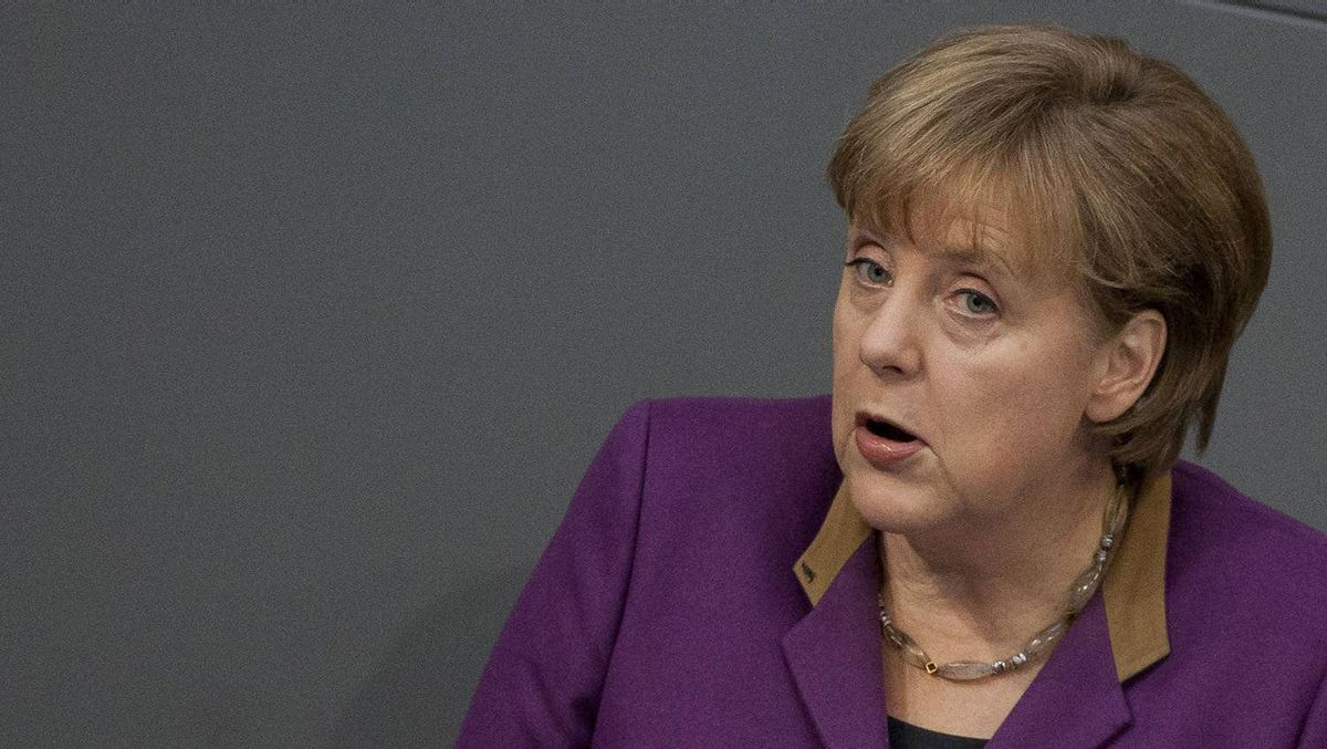 German Chancellor Angela Merkel speaks during a debate before a parliamentary vote on a Greek bailout package in the Bundestag, the lower house of parliament, in Berlin , February 27, 2012.