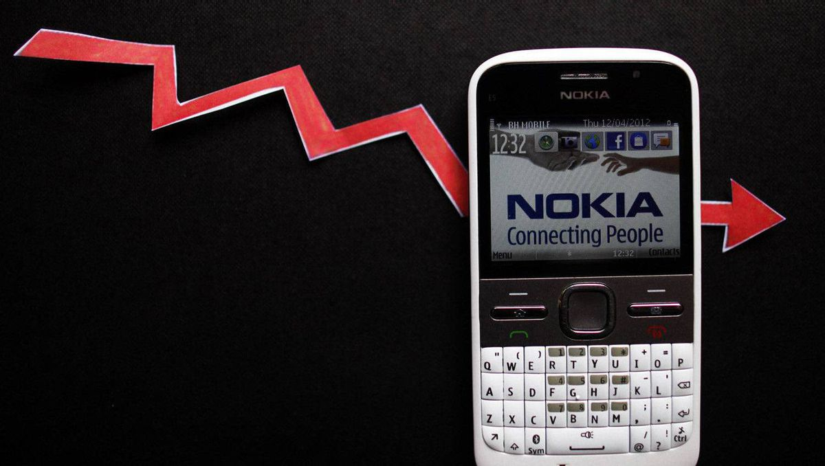 File photo of a Nokia smartphone with currency graph on display is seen in Zenica, April 12, 2012.