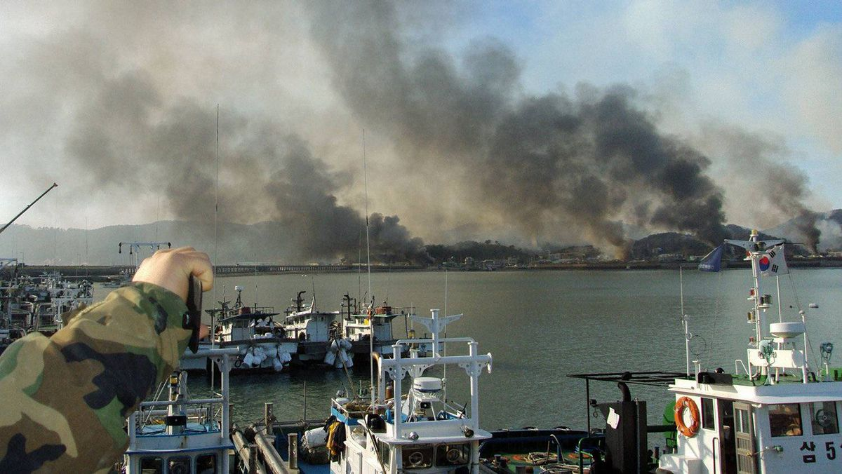Smoke rises from South Korea's Yeonpyeong island after an artillery attack by North Korea on Nov. 23, 2010.