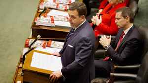 Ontario Finance Minister Dwight Duncan delivers the budget in the Legislature at Queen's Park in Toronto on March 27, 2012.