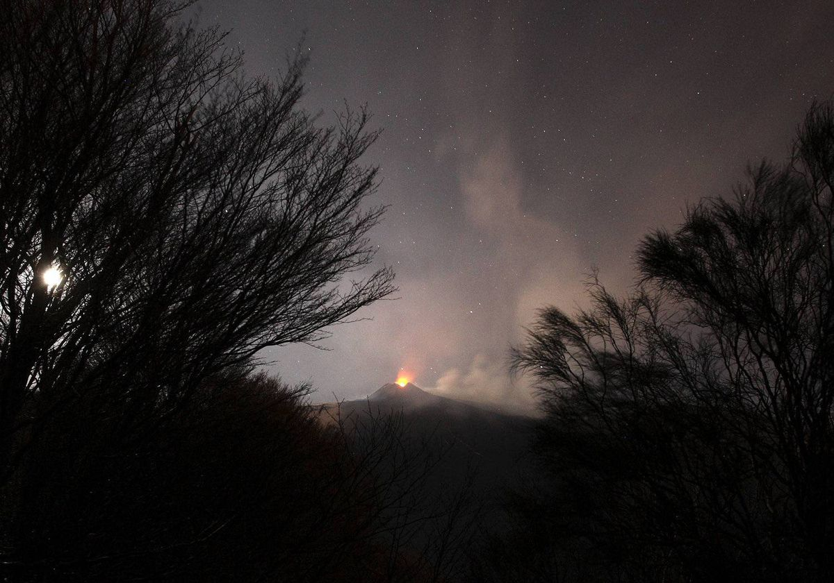 Mount Etna spews volcanic ash during an eruption on the southern Italian island of Sicily April 1, 2012. Mount Etna is Europe's tallest and most active volcano.